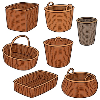 Vector set of wicker basket