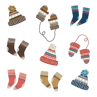 Vector set of winter apparel, socks, mittens and knitted hats