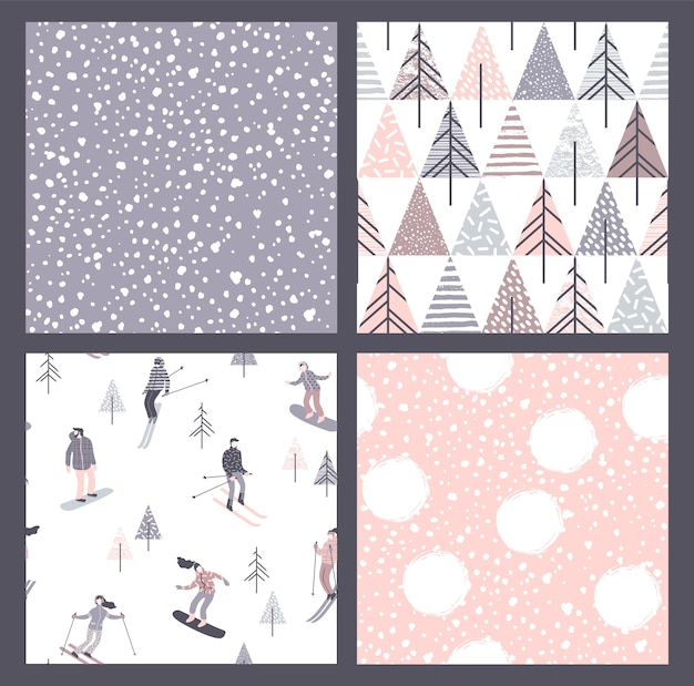 Vector set of winter seamless patterns with snow, skiers and snowboarders. trendy hand drawn texture.