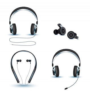 Vector set of wireless and corded headphones, earphones.