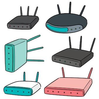 Vector set of wireless router Premium Vector