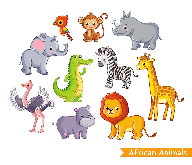 Vector set with african animals