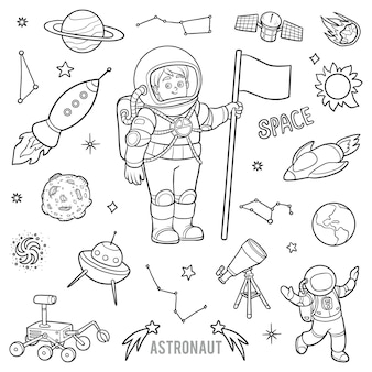 Vector set with astronaut and space objects. cartoon black and white items