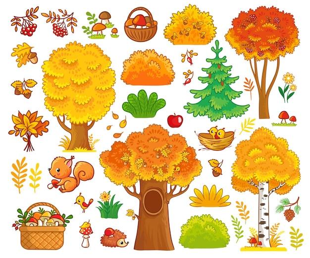 가을 나무와 숲 동물이 있는 벡터 세트 가을 나무와 귀여운 포유류 컬렉션