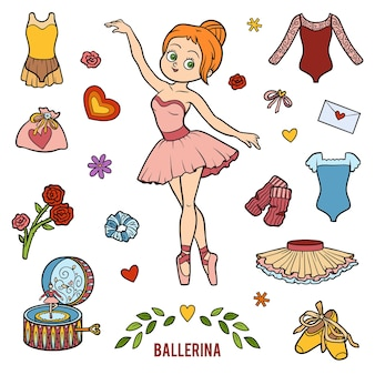 Vector set with ballerina and dancing objects. cartoon colorful items