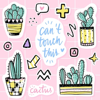 Vector set with cactuses, positive phrases, elements. cute vector cactus