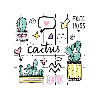 Vector set with cactuses, positive phrases, elements.