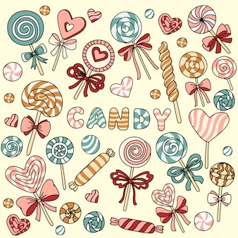 Vector set with candy and lollipops