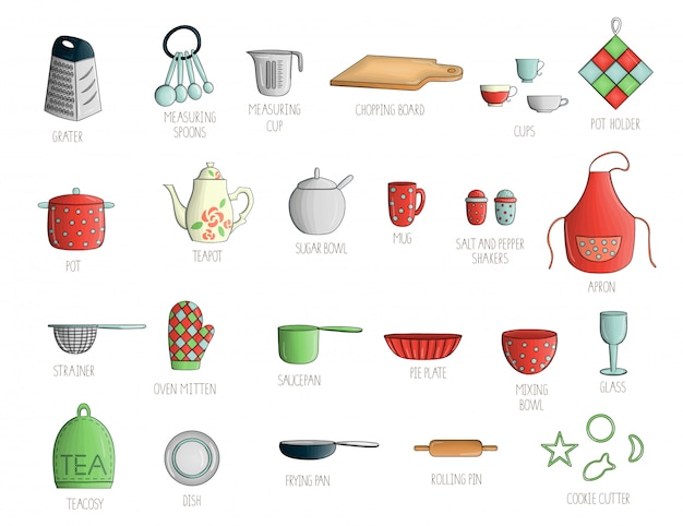 Vector set with colored kitchen tools.