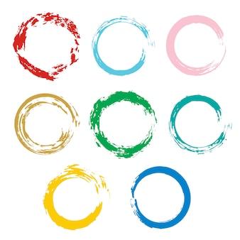 ベクトル、フレーム、バナーのデザイン要素のためのカラフルな円で設定します。グランジテクスチャ装飾。