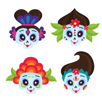 Vector set with colorful skulls for day of the dead. halloween elements.