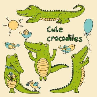 Vector set with cute crocodiles