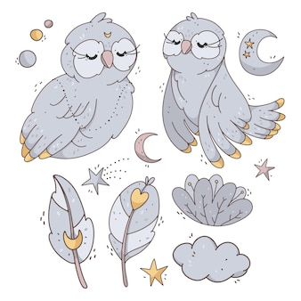 Vector set with cute owls, moon, stars, flowers and feathers