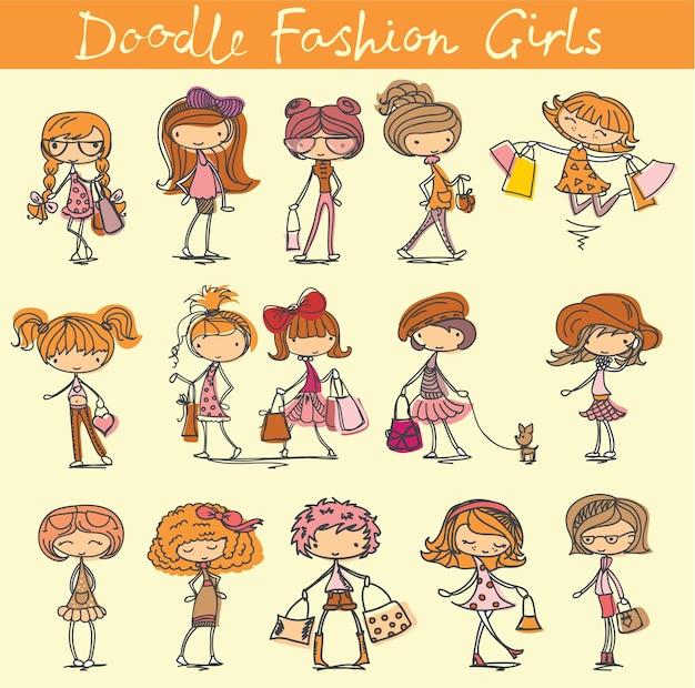 귀여운 유행 소녀와 벡터 세트입니다. 우아하고 양식화된 패션 모델 일러스트레이션