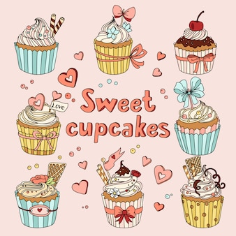 Vector set with decorated sweet cupcakes