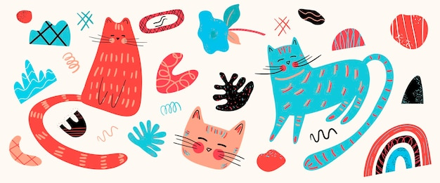 Vector set with different cute cats and graphic elements in the scandinavian style