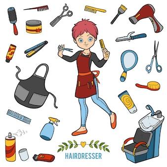 Векторный набор с парикмахером и объектами для стрижки. мультяшные красочные предметы