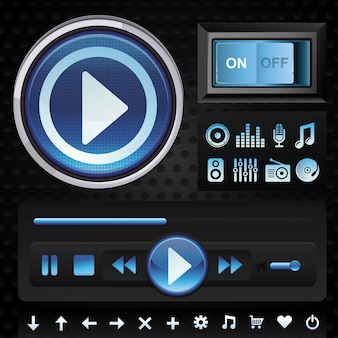 Vector set with interface design elements for music player in blue color