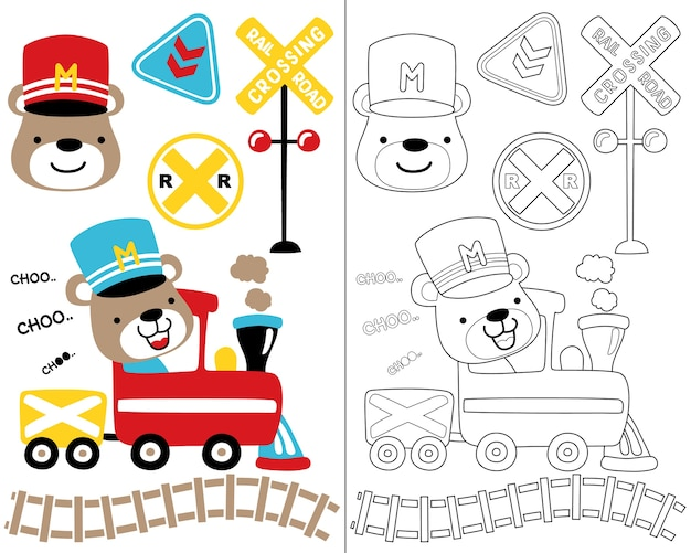 Vector set of with locomotive theme set, coloring book or page.