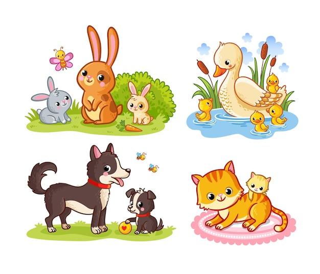 Векторный набор с мамой и ребенком домашних животных мультяшном стиле