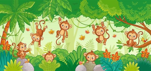 ジャングルの背景にさまざまなポーズで猿と設定されたベクトル