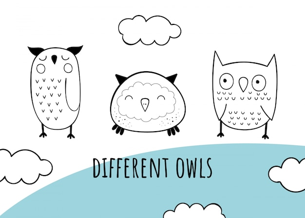 Vector set with owls