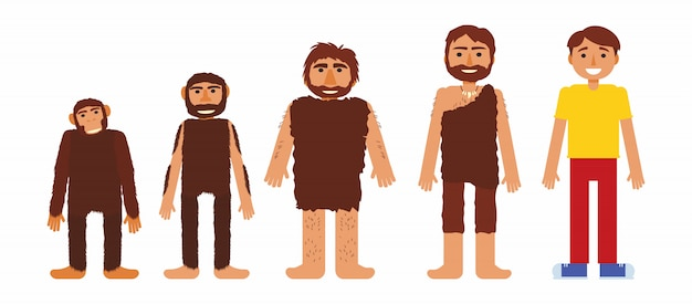 Vector set with prehistoric people