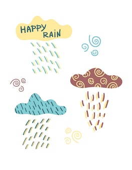 Vector set with rain clouds and clouds rain downpour in the scandinavian style