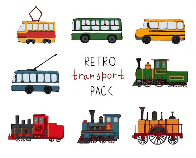 Vector set with retro engines and public transport.