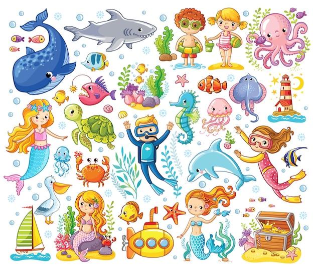 Векторный набор с морскими животными и русалкой
