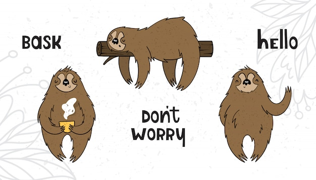 Vector set with sloths in cartoon style with texture