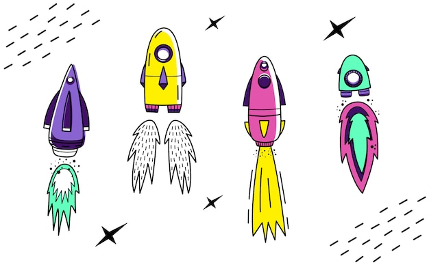 Vector set with space rockets