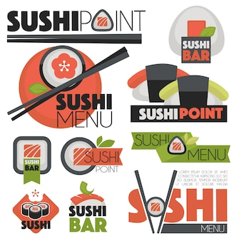 Vector set with sushi banners, icons