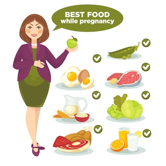 Vector set with woman and health food for pregnant.