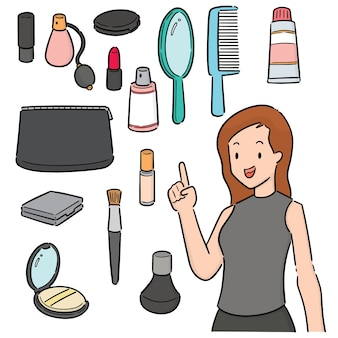 Vector set of woman and cosmetics