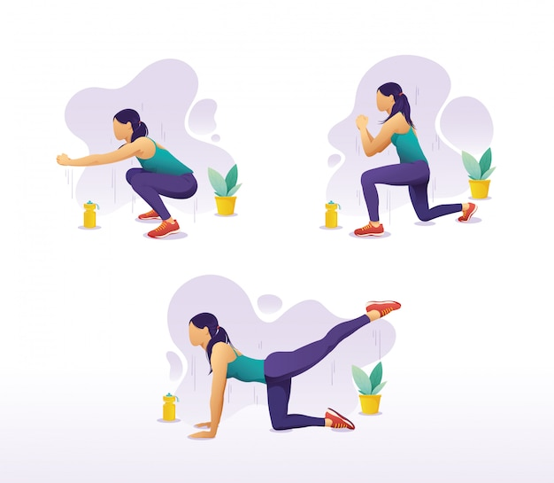 Vector set of a woman doing leg exercises at home
