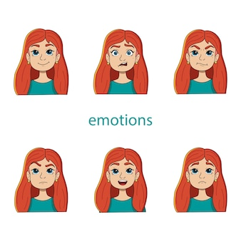 Vector set of women's heads with different emotions