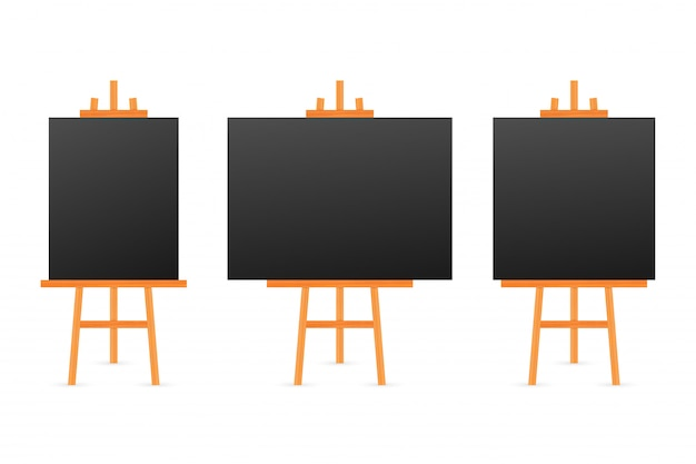 Vector set of wooden brown white sienna easels with mock up empty blank square canvases
