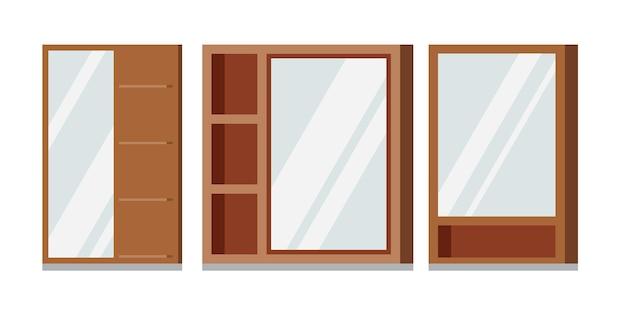 Vector set of wooden frames rectangular mirrors with shelves bathroom.