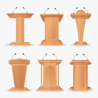 Vector set wooden podium tribune with microphones