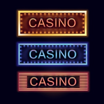 Vector set of yellow, blue, orange illuminated casino signboards for poster, flyer, billboard, web sites and gambling club isolated on black background