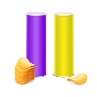 Vector set of yellow purple tin box container tube for package design