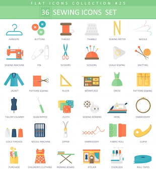 Vector sewing color flat icon set. elegant style design.