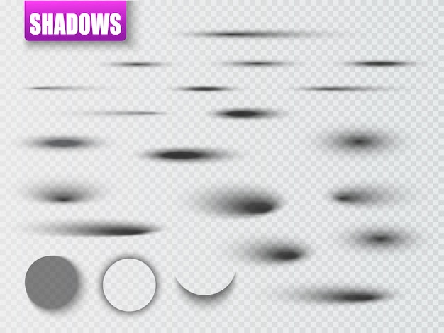 Vector shadows isolated. set of round and square shadow effects.