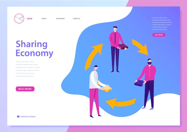 Vector sharing economy landing page web concept banner illustration with liquid background