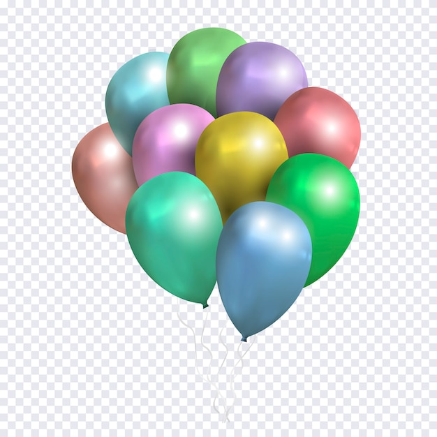 Vector sheaf of colored balloons on transparent background