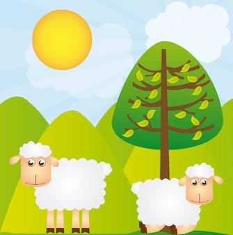 녹색 풍경 배경 위에 나무와 양 벡터