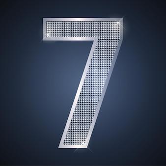 Вектор сияющий серебряный номер семь 7 с бриллиантами на седьмой день рождения или юбилейную карту