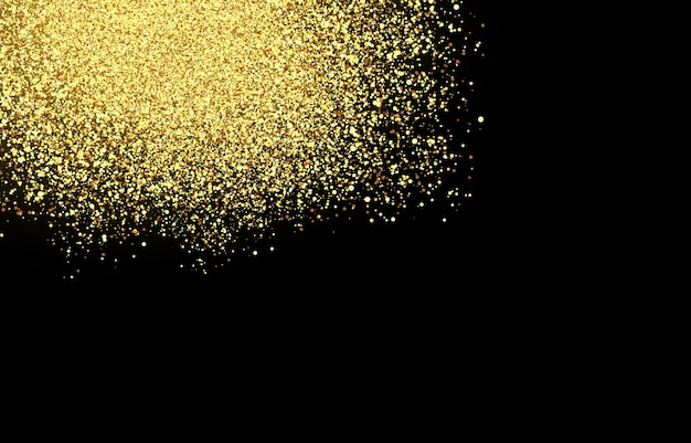 Vector shiny golden particles on isolated transparent background sparkling effect glitter particle