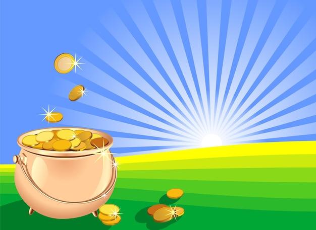 日の出を背景にフィールド上の金貨で満たされたベクトル光沢のある金属ポット